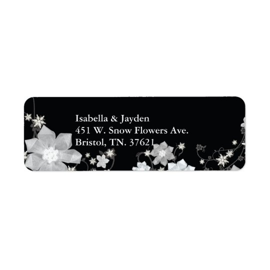 Black n White Floral Winter Wedding Address Return Address Label
