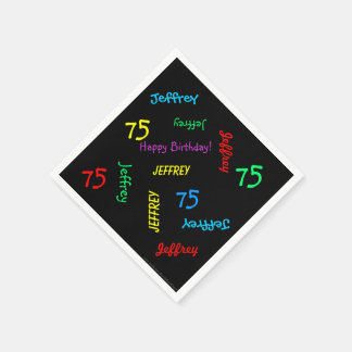 Black Napkins, 75th Birthday Party Repeating Names Disposable Napkin
