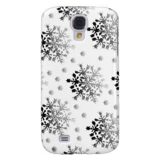 Black on White Snowflake Design Galaxy S4 Case