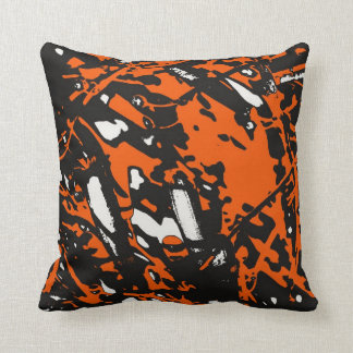 Black, Orange and White Abstract Throw Cushion