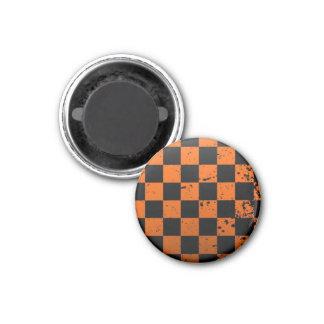Black & Orange Checkerboard Round Magnet