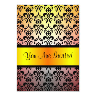 Black & orange damask  any occasion 4.5x6.25 paper invitation card