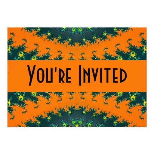 black orange personalized invitation