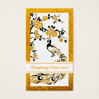 Black, orange peacock and cherry blossoms business card