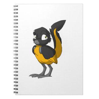 Black/Orange Reptilian Bird Spiral Note Book