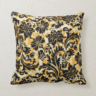 Black Orange & White Floral Damasks Cushion