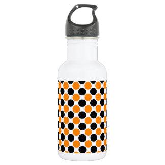 Black Orange White Polka Dots 532 Ml Water Bottle