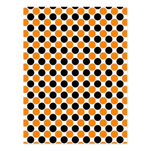 Black Orange White Polka Dots Post Cards