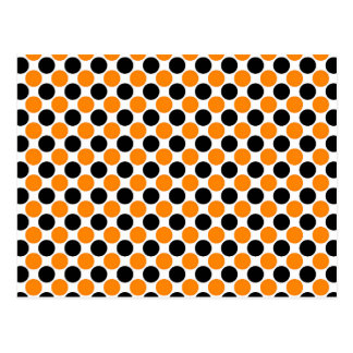 Black Orange White Polka Dots Postcard