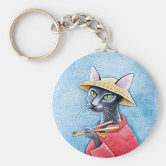 Black Oriental Shorthair Cat keychain