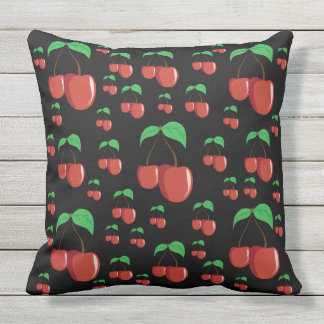 Black outdoor or indoor Red cherry retro chic Cushion