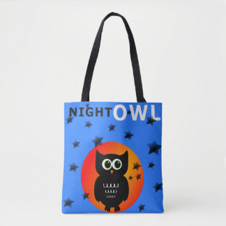 Black Owl on Moon Tote Bag