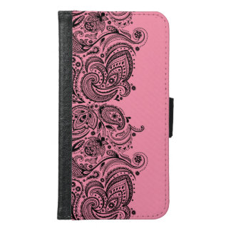Black Paisley lace With Pink Background Samsung Galaxy S6 Wallet Case