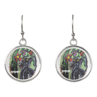 Black panther and flowers and Jungle Earrings