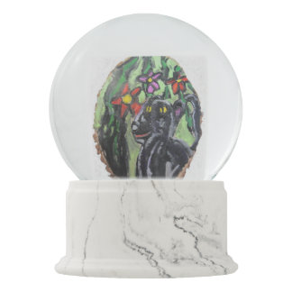 Black panther and flowers and Jungle Snow Globes