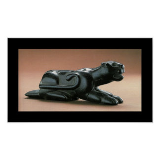 Black Panther Carved Native American Pipe Poster