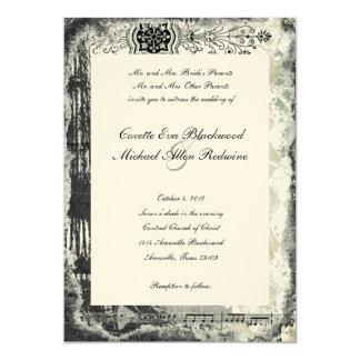 Black Paris Eiffel Tower Music Cream Wedding 13 Cm X 18 Cm Invitation Card