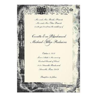 Black Paris Eiffel Tower Music Cream Wedding Custom Invites