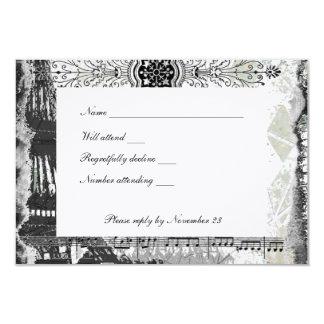 Black Paris Eiffel Tower Music rsvp with envelope 9 Cm X 13 Cm Invitation Card