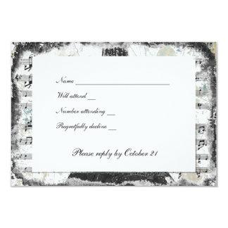 Black Paris Eiffel Tower Music rsvp with envelopes 9 Cm X 13 Cm Invitation Card