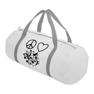 Black Peace Symbol Love Heart Dancing Music Notes Gym Duffel Bag