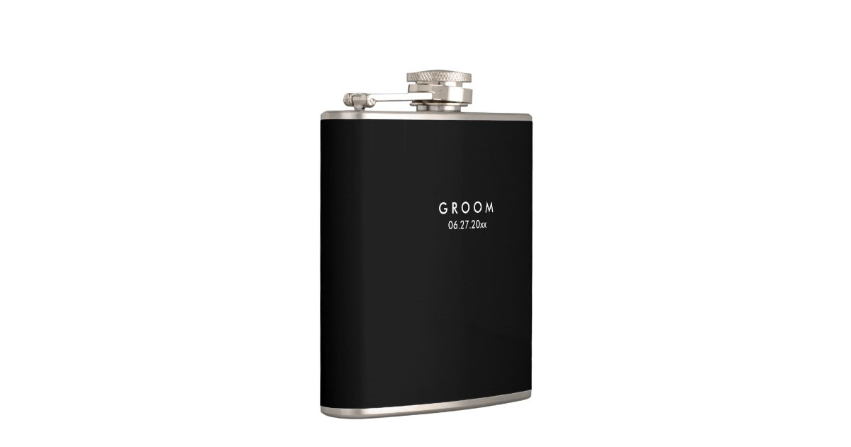 Black Personalised Flasks Wedding Gifts For Groom Zazzle