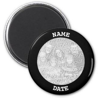 Black Personalised Round Photo Border Magnet