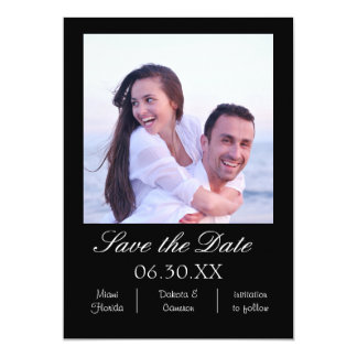 Black Photo Vertical - Save the Date Card