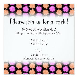 Black, Pink and Orange Floral Pattern. 13 Cm X 13 Cm Square Invitation Card