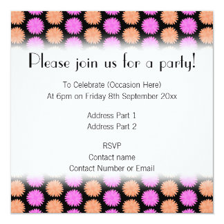 Black, Pink and Orange Floral Pattern. Personalized Invites
