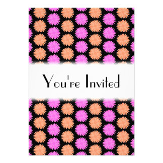 Black, Pink and Orange Floral Pattern. Invitation
