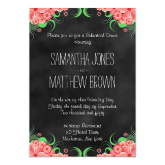 Black Pink Floral Wedding Rehearsal Dinner Invites