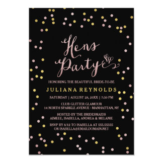 Black Pink & Gold Confetti Hens Party Invitation