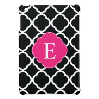 Black Pink Quatrefoil Monogram iPad Mini Covers