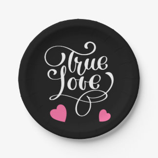 Black & Pink True Love Typography Wedding Party Paper Plate