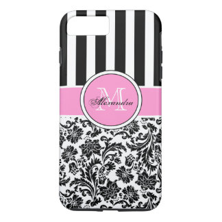 Black Pink & White Damask & Stripes Pattern iPhone 8 Plus/7 Plus Case
