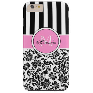 Black Pink & White Damask & Stripes Pattern Tough iPhone 6 Plus Case