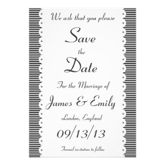 Black Pinstripes Save The Date Announcement