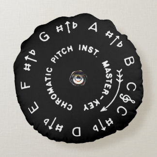 Black Pitch Pipe Round Cushion