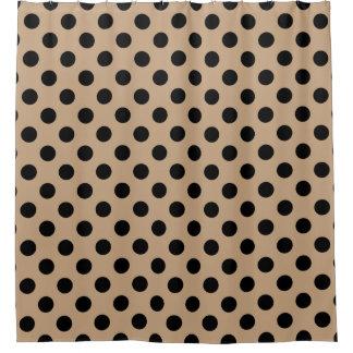 Black polka dots on beige shower curtain