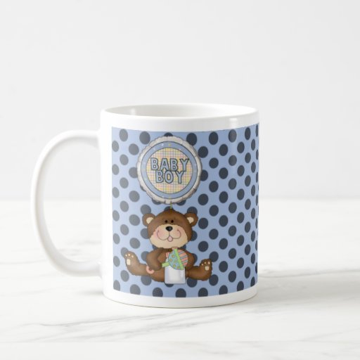 Black Polka Dots on Blue with Teddy Bear Coffee Mugs