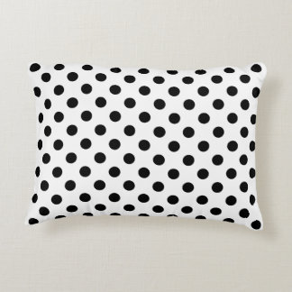 Black Polka Dots on White Background Accent Cushion