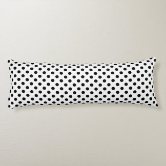 Black Polka Dots on White Background Body Cushion