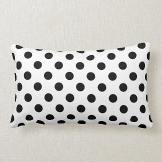 Black Polka Dots on White Background Cushion