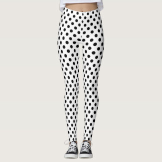Black Polka Dots on White Background Leggings