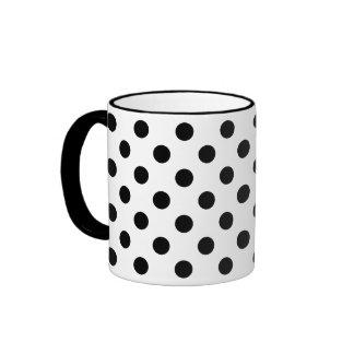 Black Polka Dots on White Background Ringer Mug