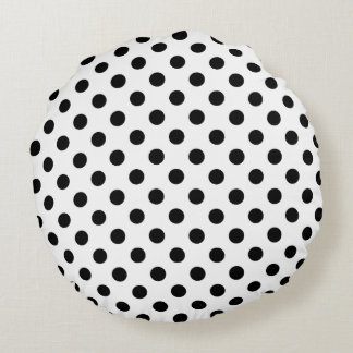 Black Polka Dots on White Background Round Cushion