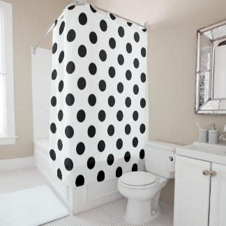Black Polka Dots on White Background Shower Curtain