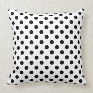Black Polka Dots on White Background Throw Cushion