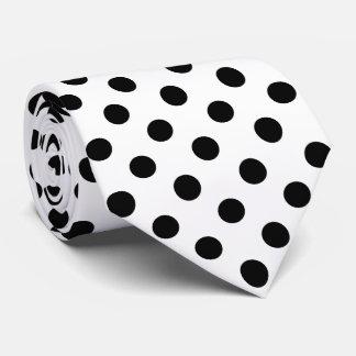 Black Polka Dots on White Background Tie